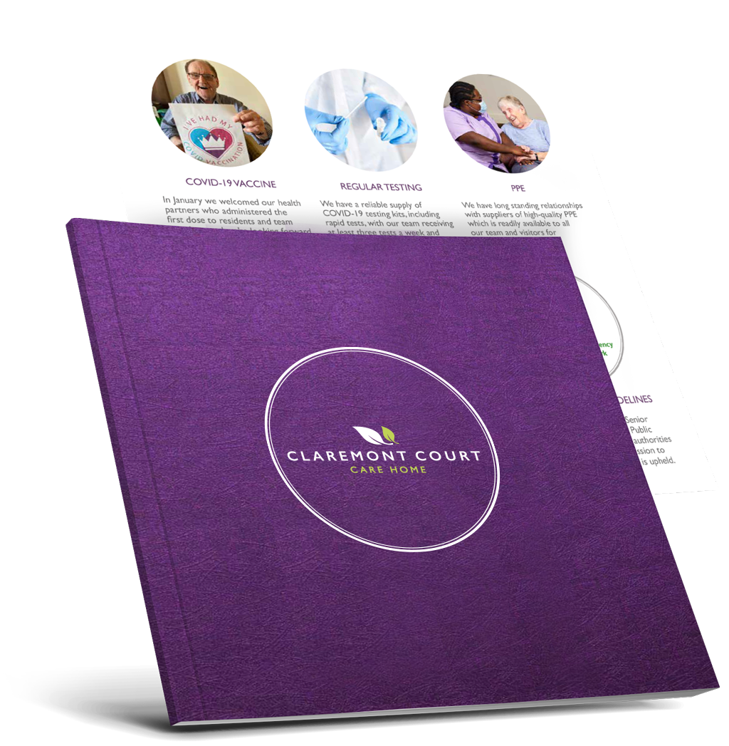 Care home brochure preview showing a sneak peak of one of it's pages